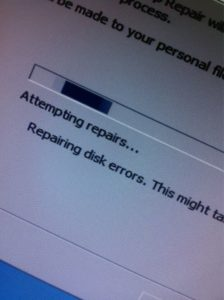 Photo of a screen displaying an error.
