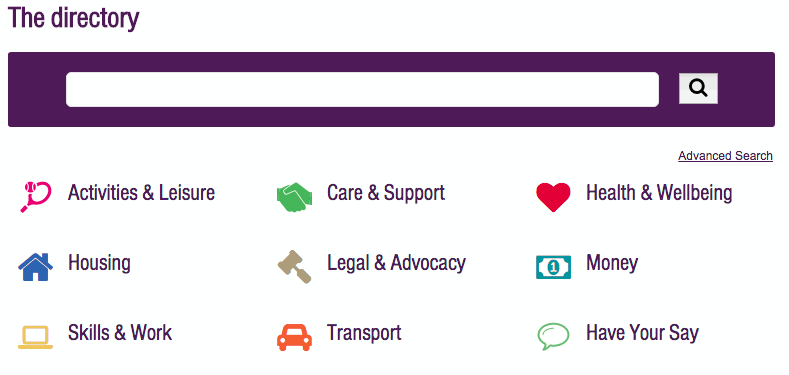 Screenshot of Southwark Wellbeing Hub website search bar and category icons