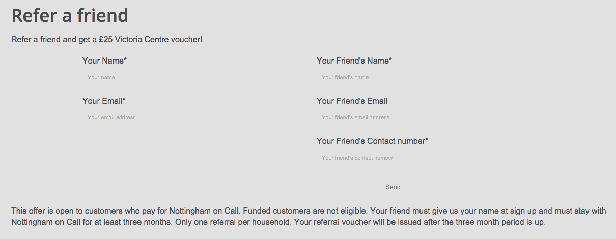 Screenshot of refer a friend section of Nottingham On Call website