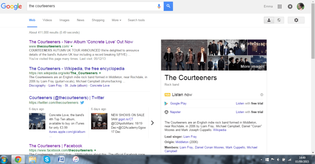 Screenshot of Google search for Courteeners