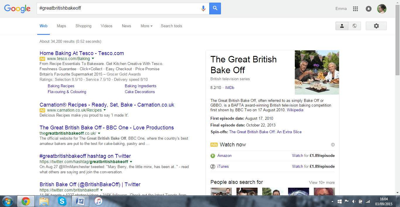 Screenshot of Google search for Great British Bake Off