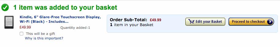 Screenshot of Amazon basket