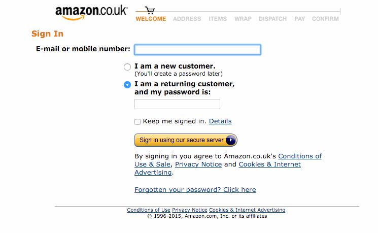 Screenshot of Amazon login screen.