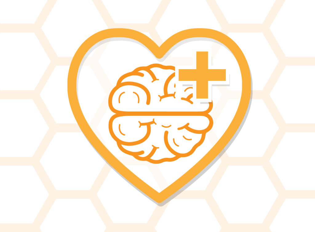 Illustration of heart symbol with brain in centre