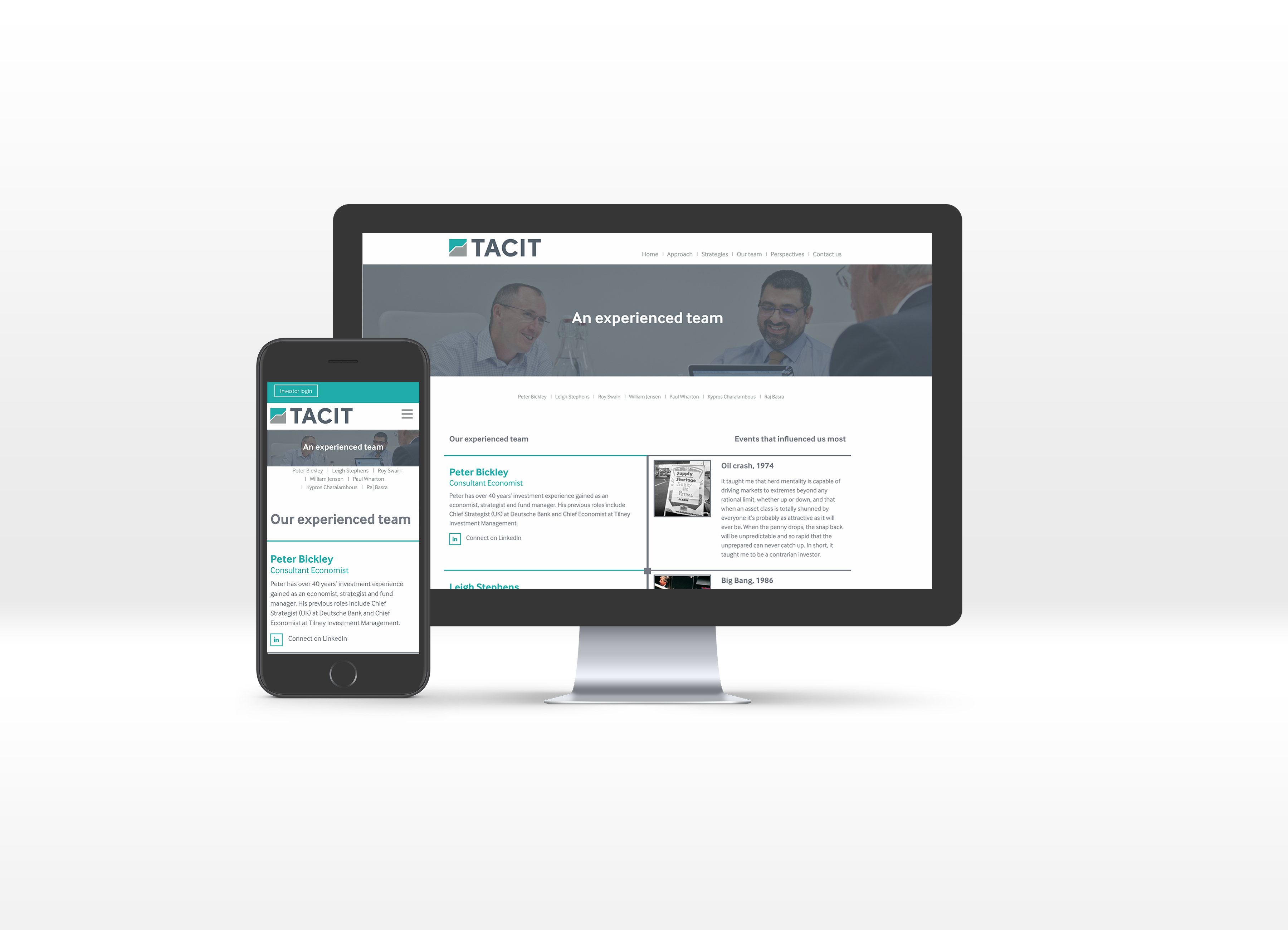 Tacit team page shown on desktop computer and mobile phone