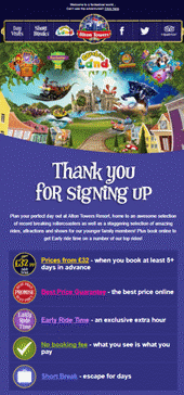 Image showing a 'Thanks for Subscribing' Email