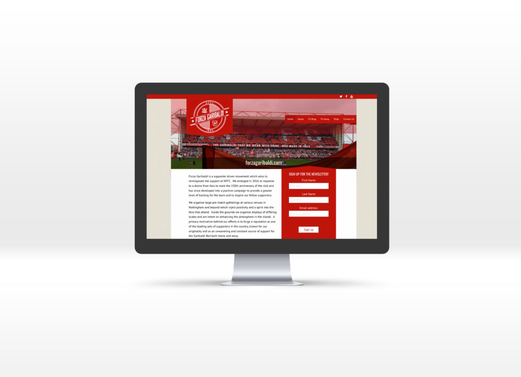 Forza Garibaldi homepage displayed on an iMac