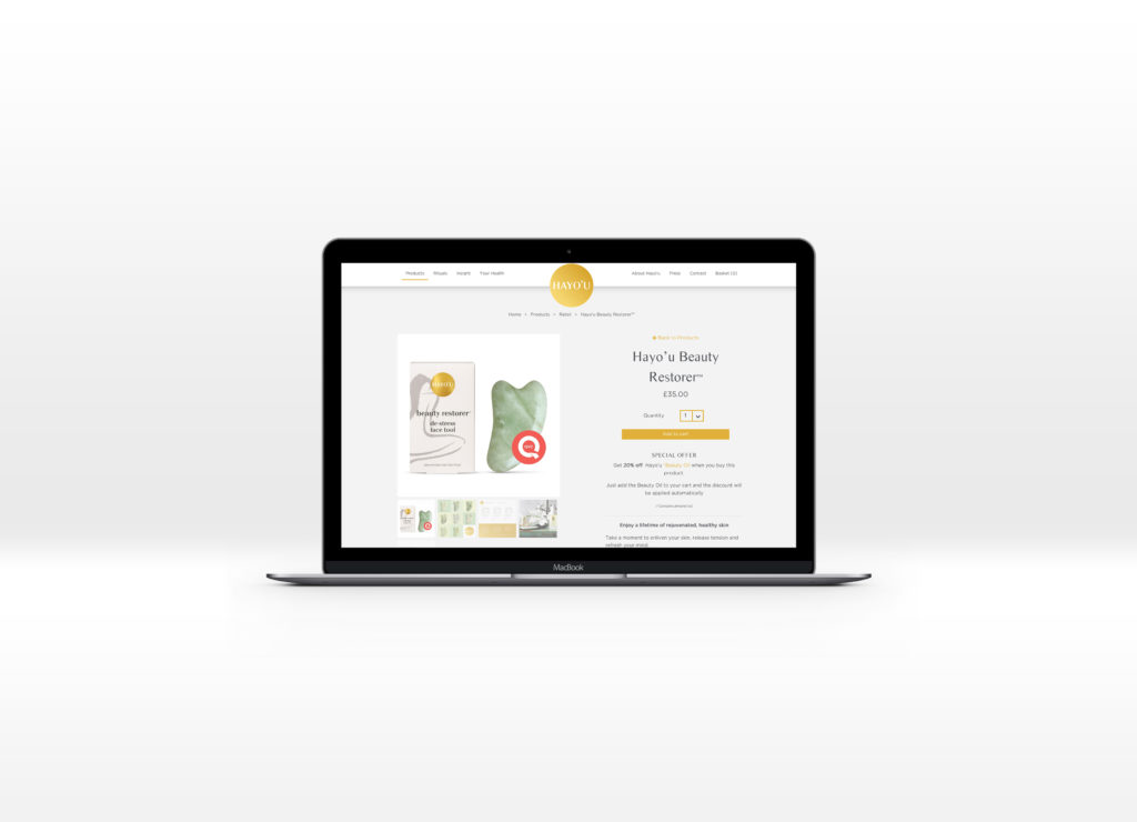 Hayo'u Method Product page displayed on a Macbook laptop computer