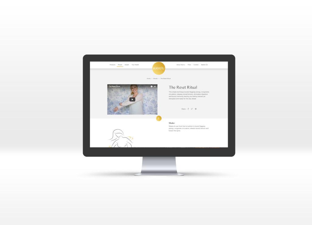 Hayo'u Method Rituals page displayed on a Macbook laptop computer