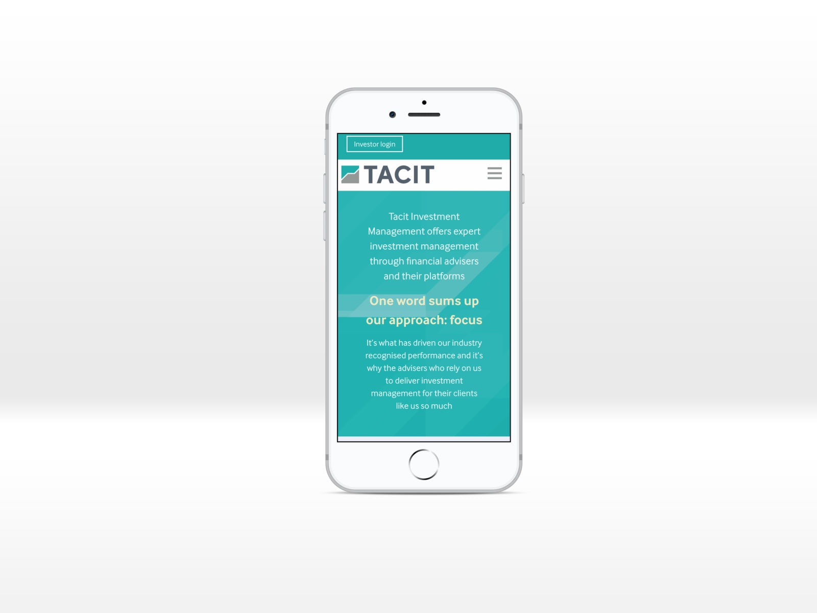 Tacit homepage displayed on a iPhone