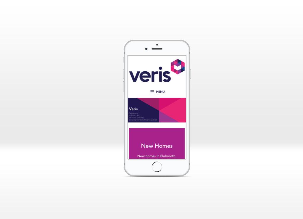 Veris homepage displayed on an iPhone