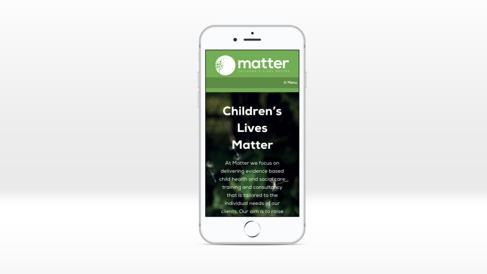 Matter website displayed on an iPhone