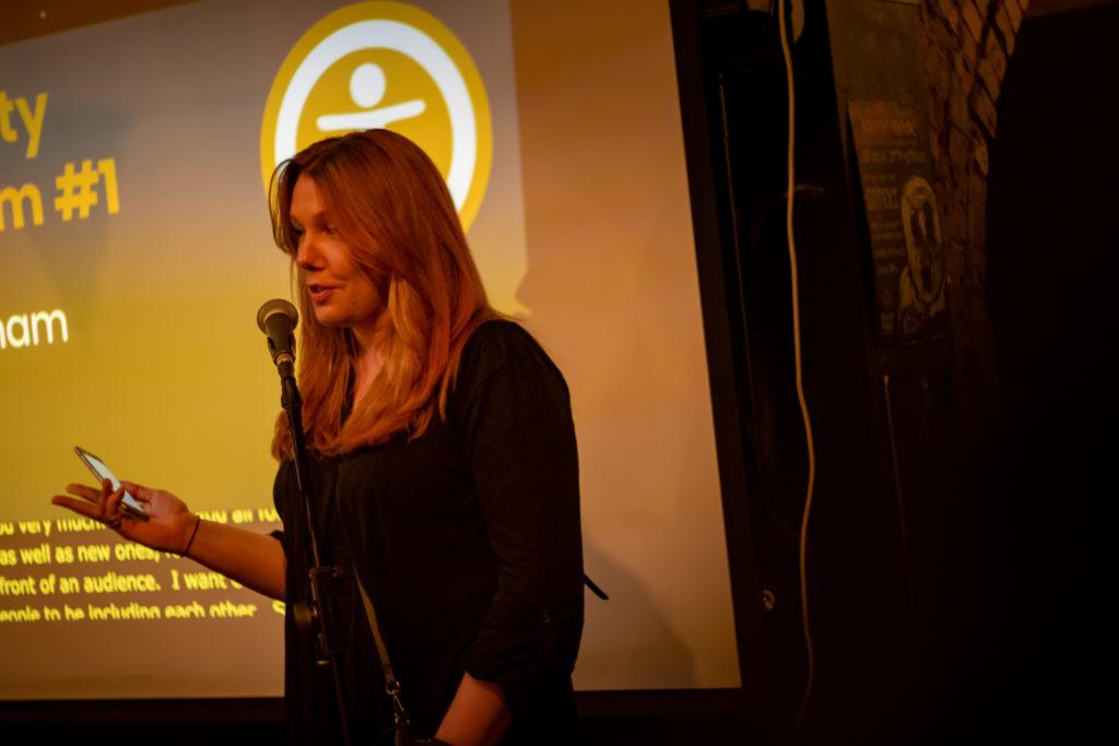 Zara delivering a talk at Accessibility Nottingham