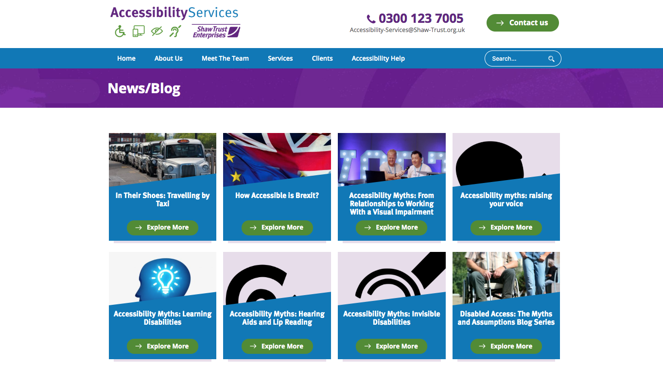 A screen shot of a number of blogs produced by Shaw Trust's team