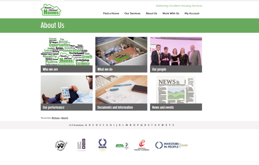 the about us page follows similar designs of the front page; an easy to use and navigable site