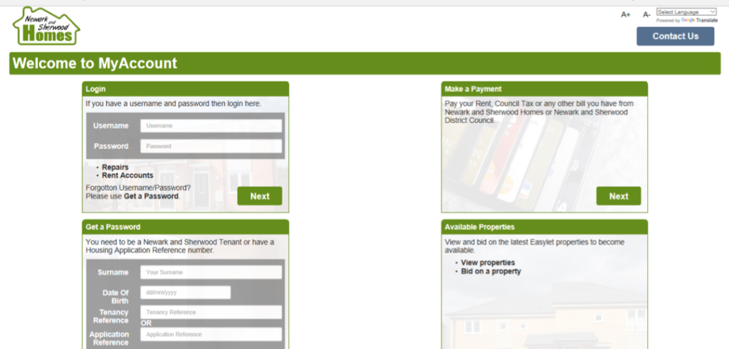 This screenshot shows the MyAccount page of the website - the user focused area that shows tenancy documents of the user.