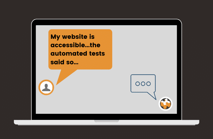 "Chat screen showing someone saying ""My website is accessible, the automated tests said so"" and an icon of HeX replying"