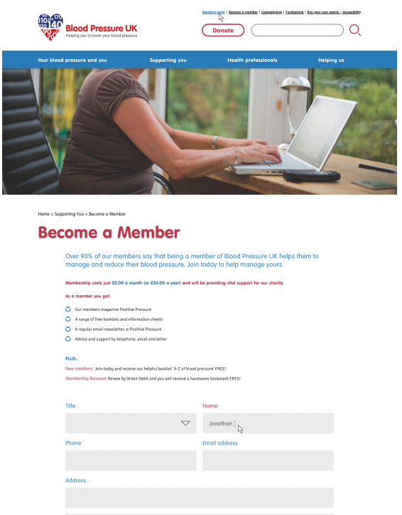 snapshot of the become a member page