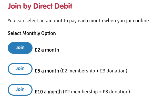 Snapshot demonstrating the payment selection for becoming a member of BPUK