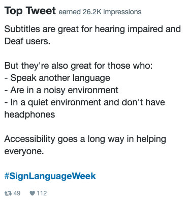 Top tweet from Shaw Trust Accessibility Services regarding sign language week receiving 26,000 impressions