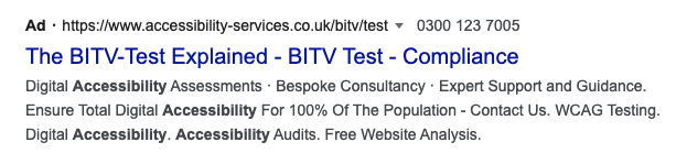 A screen shot of a paid search result for Shaw Trust