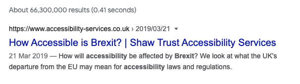 Organic search result showing Shaw Trust blog post ranking number one in Google